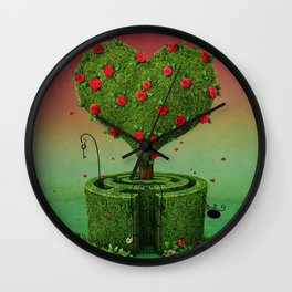 flowering tree in shape of heart and labyrinth Wall Clock