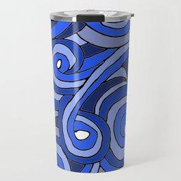 Blue Doodle Swirls Travel Mug