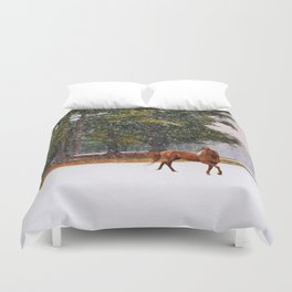 Winter in Horse Country Duvet Cover