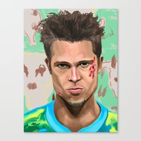 tyler durden Canvas Prints featuring Tyler Durden by Riley Schmitz