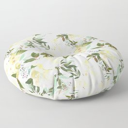 Modern yellow ivory green hand painted roses floral Floor Pillow