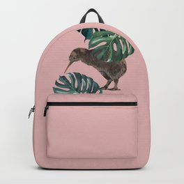 Kiwi Bird with Monstera in Pink Backpack