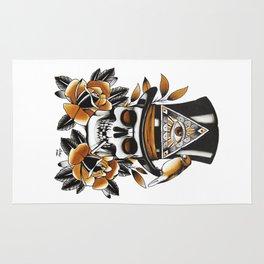 Smoking skull and roses Rug