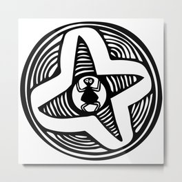 Funny design of little spider in his web Metal Print