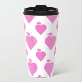 Crown Heart Pattern Pink Travel Mug