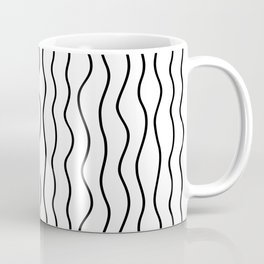 Modern White and Black Vertical Wave Pattern // Squiggly Hand Drawn Lines Coffee Mug