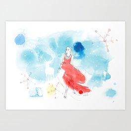 Christmas girl in the snow Art Print