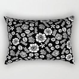 Linocut florals pattern minimal black and white home decor college dorm bohemian printmaking Rectangular Pillow
