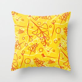 Plant mustard and peach stems and elements on an orange background in a natural style. Throw Pillow
