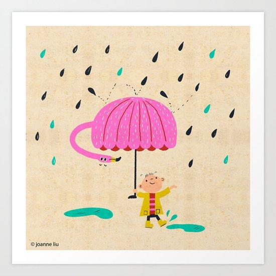 one of the many uses of a flamingo - umbrella Art Print