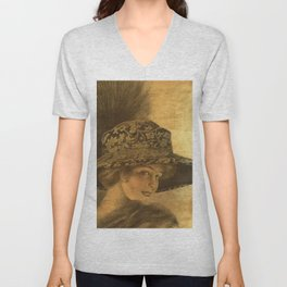 Golden victorian lady Unisex V-Neck