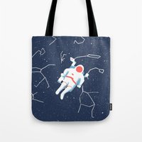 spaceman Tote Bags featuring Spaceman by James White
