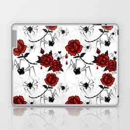 Black Widow Spider with Red Rose Laptop & iPad Skin