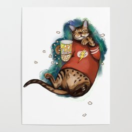 Cat Galaxy cinemaholic in superhero flash tshirt With popcorn Poster