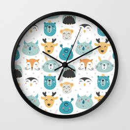 Children's print with cartoon characters-deer and monsters. Wall Clock