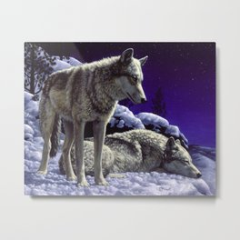 Night Watch Wolves in Snow Metal Print