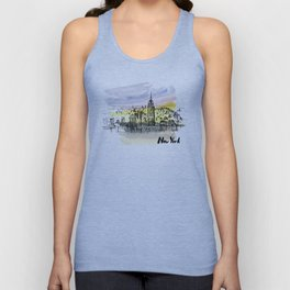New York. Watercolor and ink. Unisex Tank Top