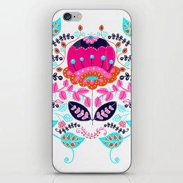 Whimsical Scandinavian Style Folk Art Flower iPhone Skin