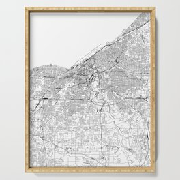 Cleveland White Map Serving Tray
