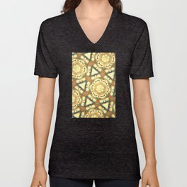 1970's Beige and Yellow Hexagon Pattern Unisex V-Neck
