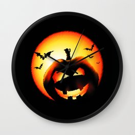 Smile Of Scary Pumpkin Wall Clock