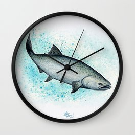 """Salmon Splash"" by Amber Marine ~ Watercolor Painting (Copyright 2016) Wall Clock"