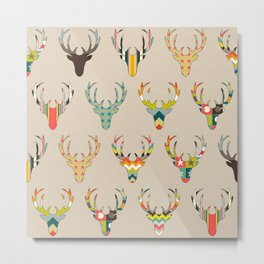 retro deer head on linen Metal Print