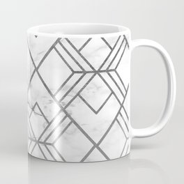 Geometrical white gray faux silver marble Coffee Mug