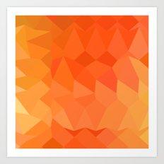 Spanish Orange Abstract Low Polygon Background Art Print
