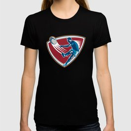 Rugby Player Kicking Ball Shield Woodcut T-shirt