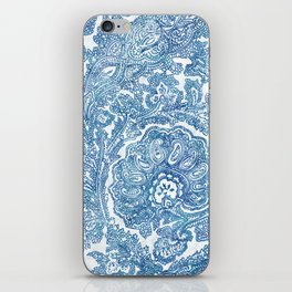 Blue Boho Paisley Pattern II iPhone Skin