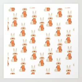 Cute funny hand drawn orange brown vector rabbit pattern Art Print