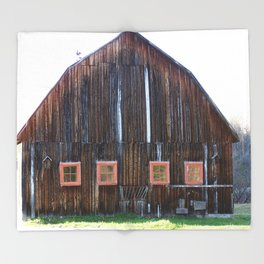 Rustic Old Country Barn Throw Blanket
