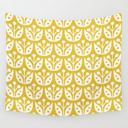 Mid Century Modern Flower Pattern Mustard Yellow Wall Tapestry