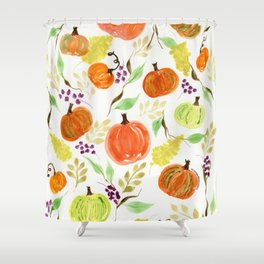 Pumpkin Patch Watercolor Shower Curtain