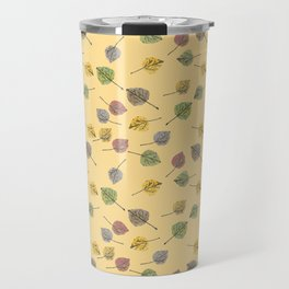 Colorado Aspen Tree Leaves Hand-painted Watercolors in Golden Autumn Shades on Butter Yellow Travel Mug