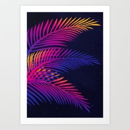 Neon Leaves Art Print