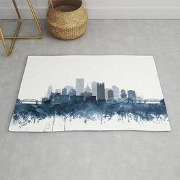 Pittsburgh City Skyline Watercolor Blue by Zouzounio Art Rug