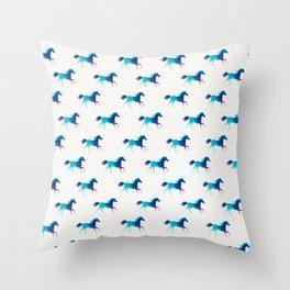 blue horse pattern Throw Pillow