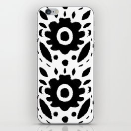 Black and White Bold Flower Pattern iPhone Skin
