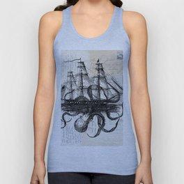 Octopus Kraken Attacking Ship on Old Postcards Unisex Tank Top