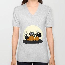 Halloween Black Cat with Pumpkins in a Graveyard Unisex V-Neck