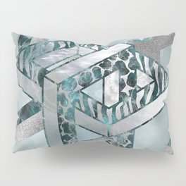 Abstract 3D Geometric Labradorite on Mother of pearl Pillow Sham