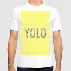 yolo MEDIUM Mens Fitted Tee White