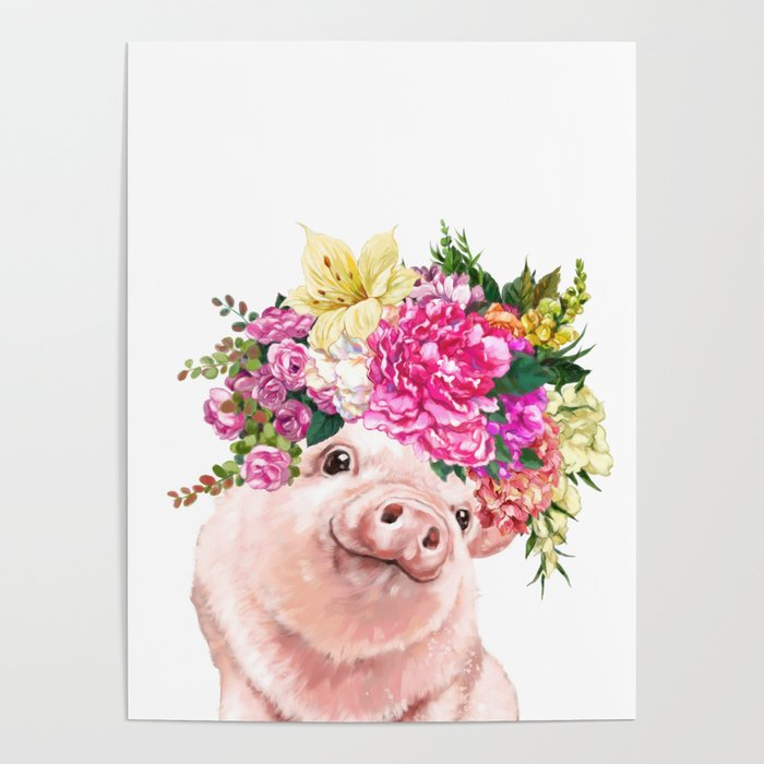 Flower Crown Baby Pig Poster by bignosework
