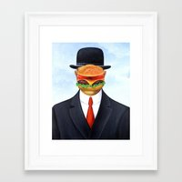 magritte Framed Art Prints featuring Magritte Burger by Scott Partridge