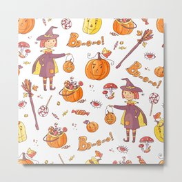 Hand drawn doodle vector seamless pattern with halloween elements: suits, characters, accessories, s Metal Print