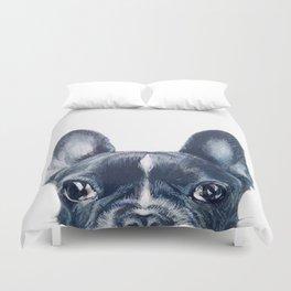 Hand painting French Bulldog Dog illustration original painting print Duvet Cover