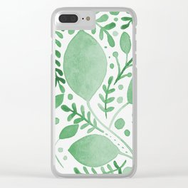 Branches and leaves - green Clear iPhone Case