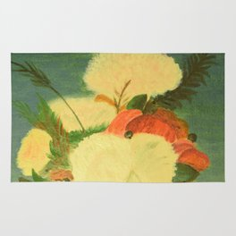 flowers in a glass vase . Oil painting . art Rug